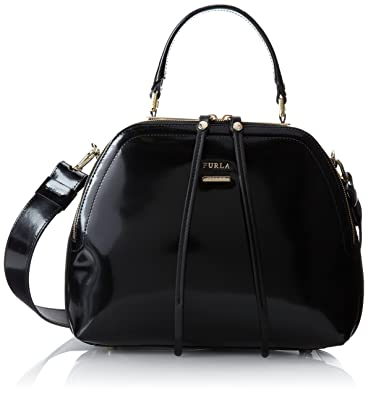 FURLA Globe Ladies Bag Patent Leather Handbag, Black; Dimensions ...