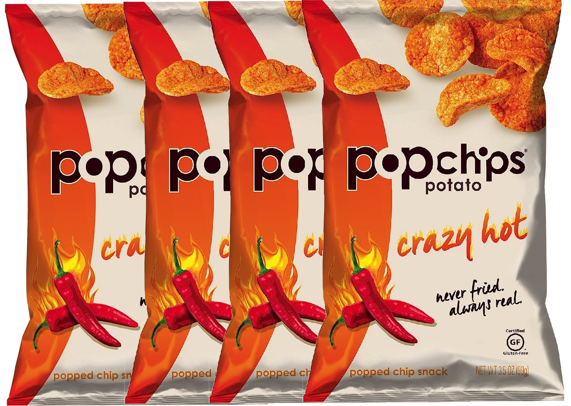 Popchips Crazy Hot Gluten Free Potato Chips, 3.5 oz (4)