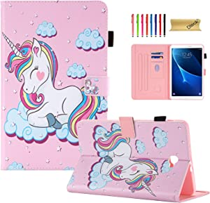 Dteck for Galaxy Tab A 10.1 SM-T580 Tablet Case Cover, Slim Leather Cover Folding Stand with Card Slot [Auto Sleep/Wake] Magnetic Tablet Case for Samsung Tab A 10.1 T580 (NO S Pen), Pink Unicorn