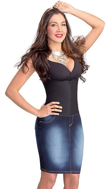 Lowla Fashion Shapewear Denim Skirt Pencil Stretch Girdle 258015 Faldas de Jean at Amazon Womens Clothing store:
