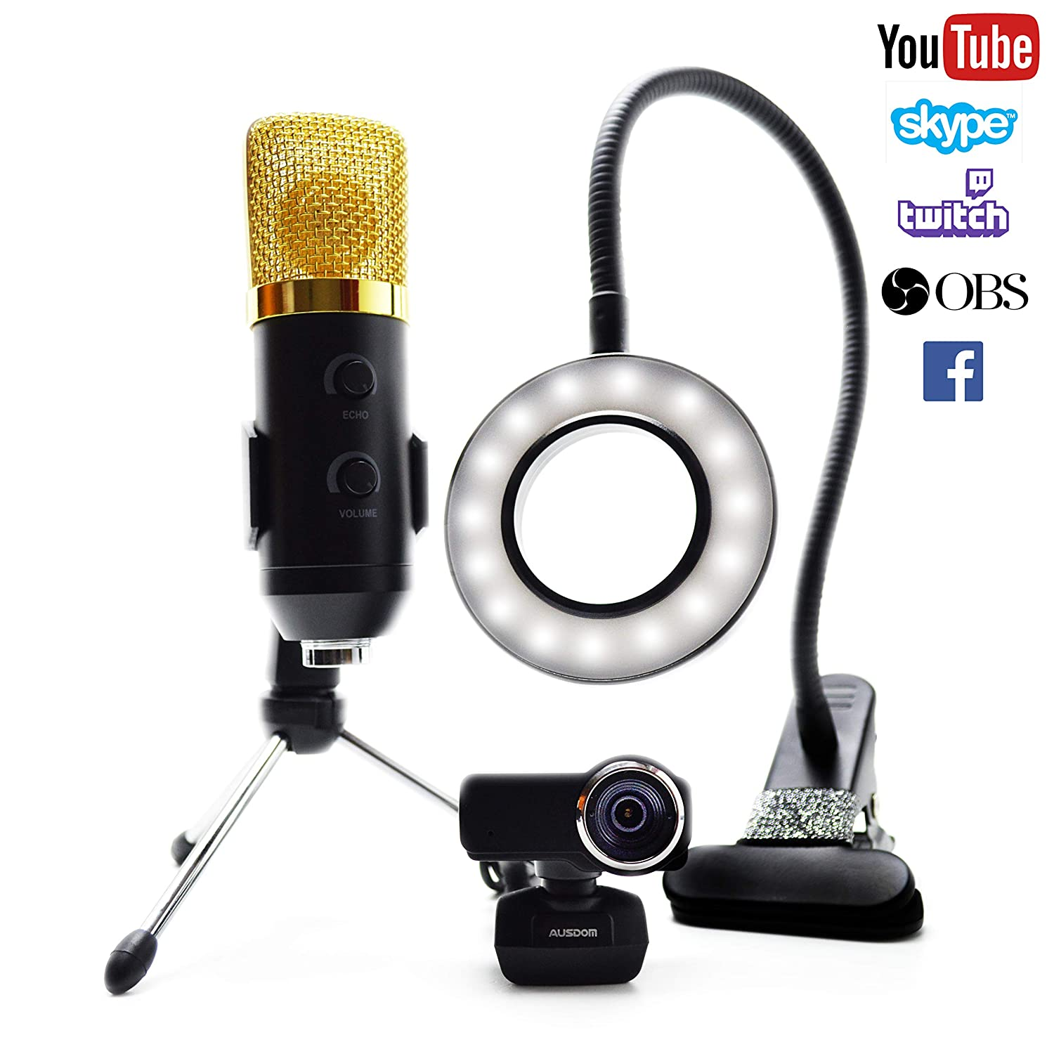 Stream Team Streaming Equipment Kit- Includes Ausdom Full HD Widescreen 1080p Webcam, USB Microphone, LED Video Light. (Works with PSN, May Need a Mic and Headphone Splitter for Xbox). Stream Team Gaming