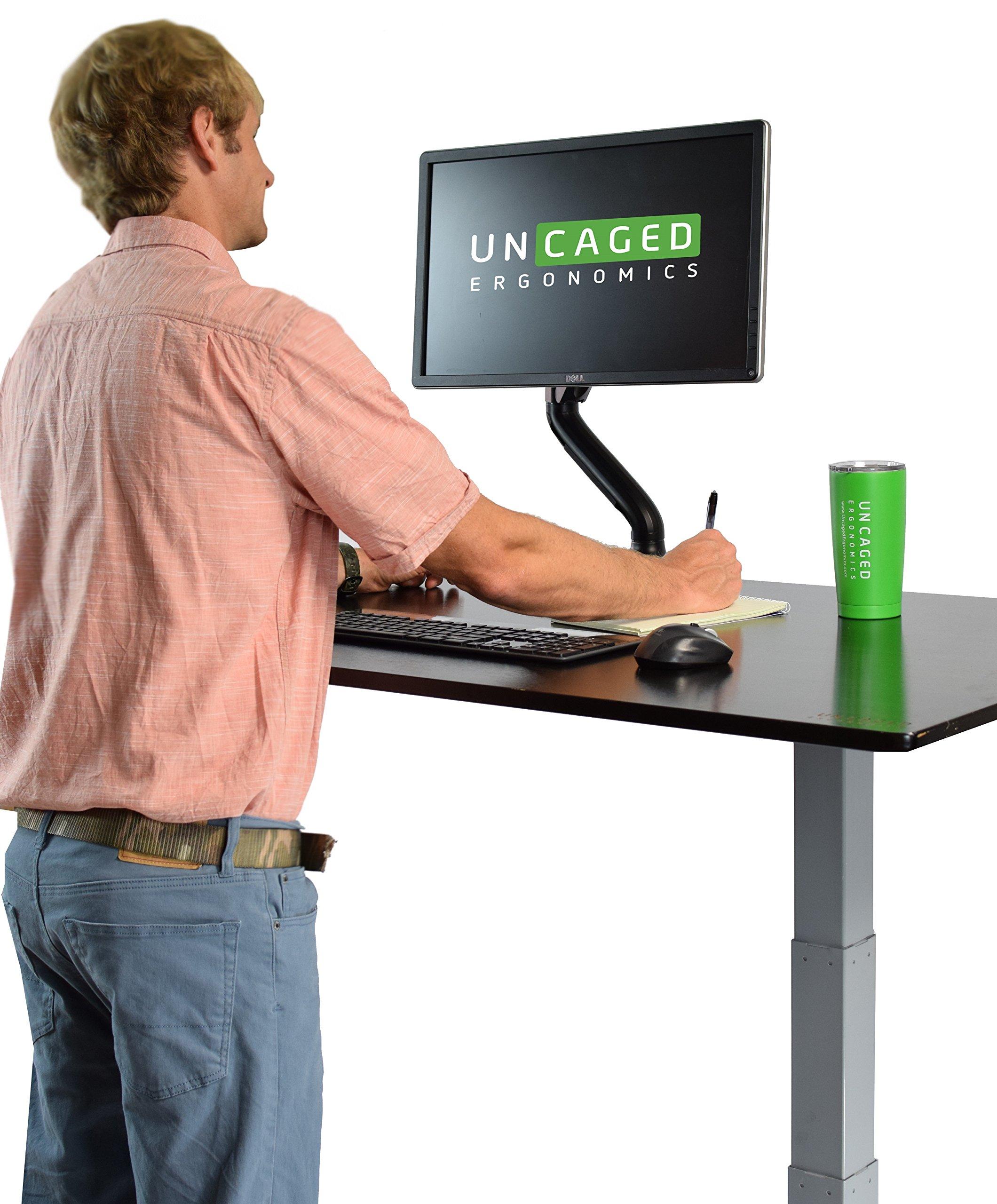 Swivel LCD Monitor Arm w/Unversal VESA Mount. Adjustable Height, Ergonomic, Single Desktop Computer Mount + Easy Gas Spring Adjustment + 2 USB Ports