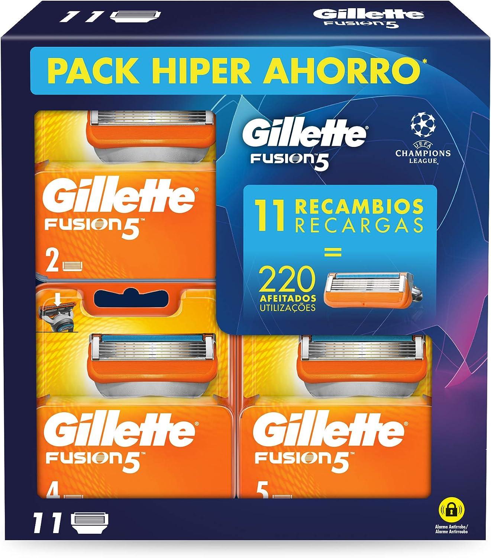 Gillette Fusion5 - Cuchillas de Afeitar, Pack Ahorro Champions League con 11 Recambios