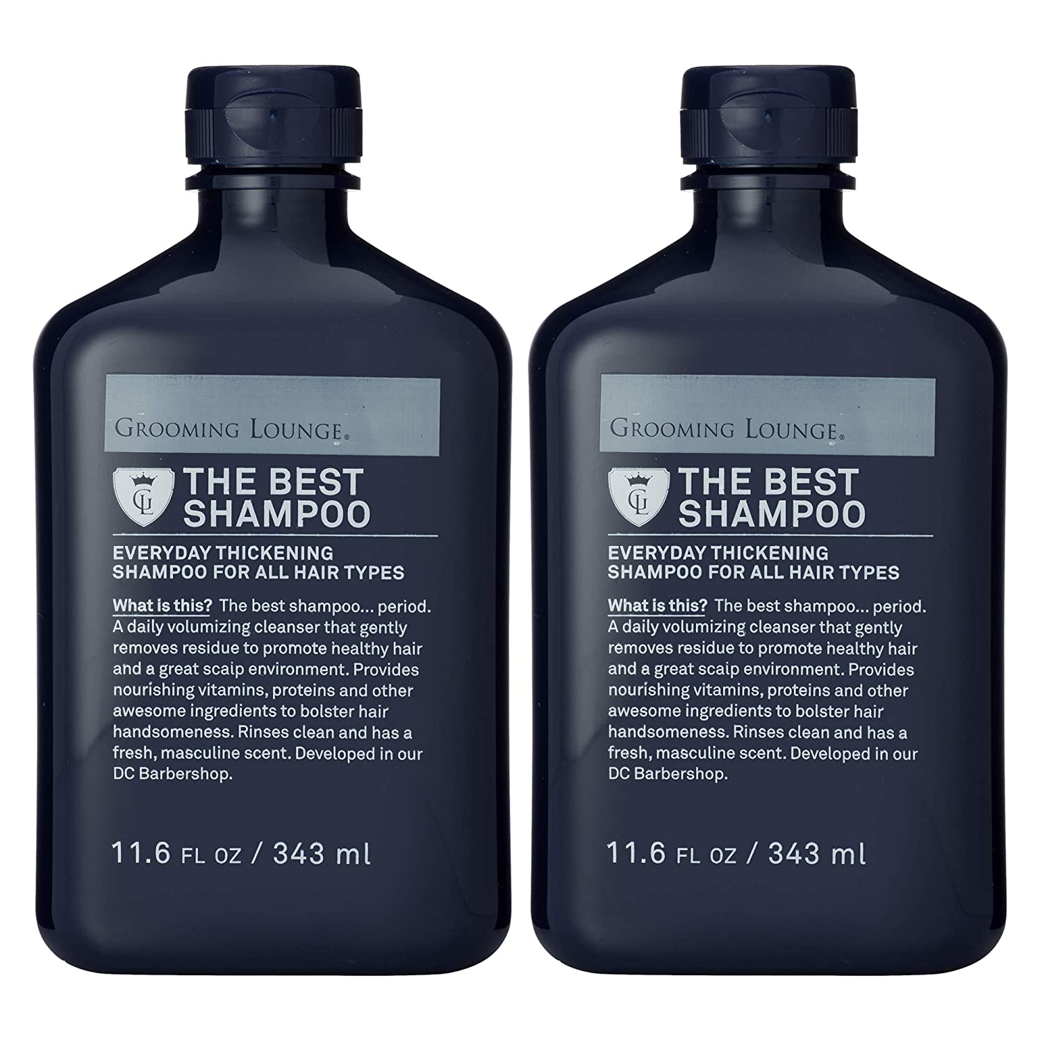 Amazon Com Grooming Lounge Best Shampoo Men S Volumizing Shampoo Thickens Hair With Biotin For All Hair Types 11 6 Oz 2 Pack Beauty