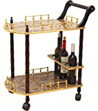 Uniquewise(TM) 2-Tier Serving Tea Cart, Gold Marble Finish