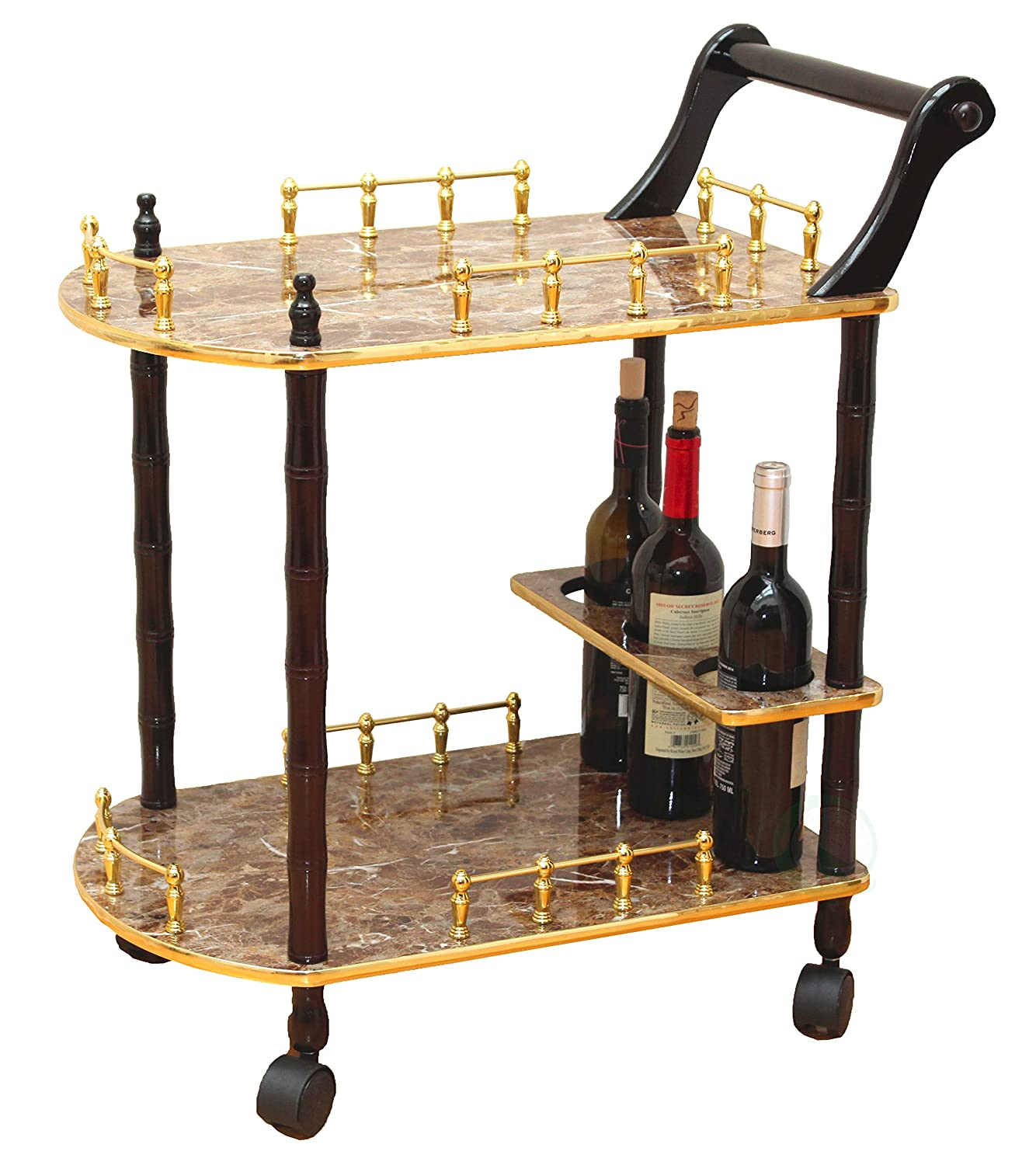 Uniquewise 2-Tier Serving Tea Cart, Gold Marble Finish Quickway Imports QI003133
