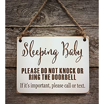 Sleeping Baby Sign - Please Do Not Knock Sign - Baby Sleeping Sign Call or Text - Baby Shower Gift: Handmade