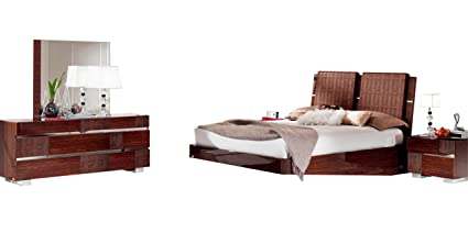 Amazon.com: Soflex Azaria Glossy Walnut Crocodile Accents Bedroom ...