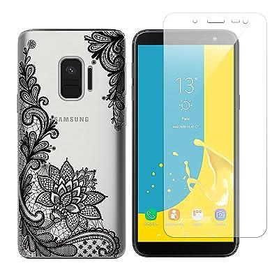 Funda Samsung Galaxy J6 2018 Flor Negra Suave TPU Silicona Anti-rasguños Protector Trasero Carcasa para Samsung Galaxy J6 2018 con Un Protector de Cristal Templado Film