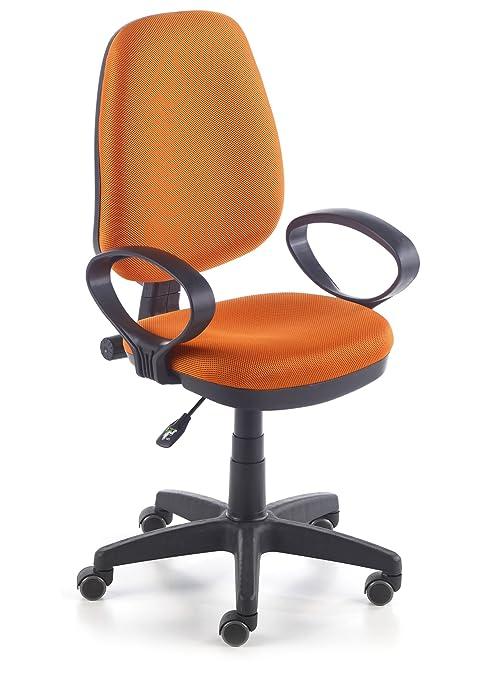 Due-home Silla de oficina silla escritorio tapizado 3D color naranja ...