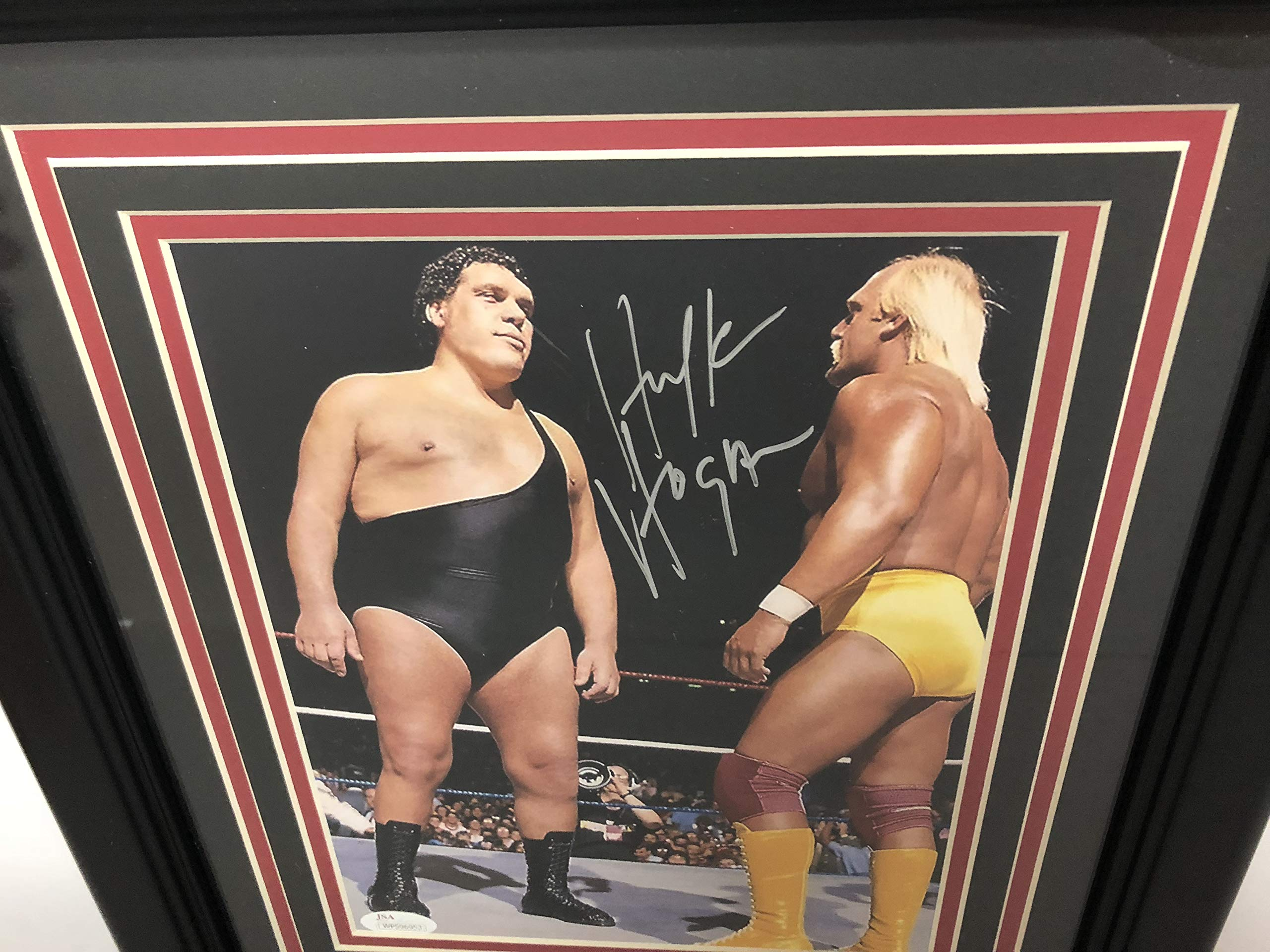 Hulk Hogan WWF Signed Autographed 8 x 10 Framed Photo with Andre the Giant with JSA certification