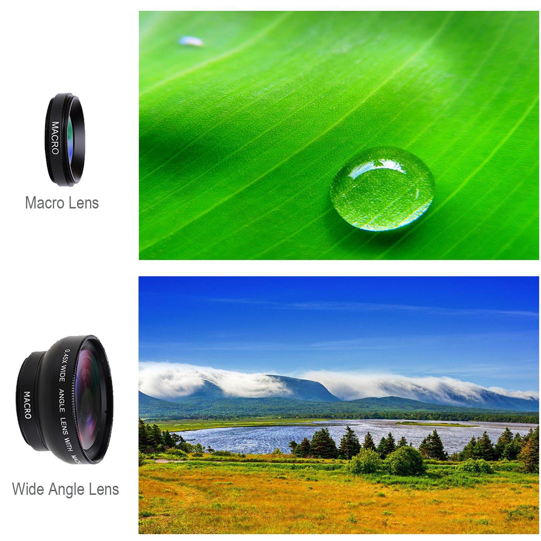 Amazon Com Phone Camera Lens 0 45x Wide Angle Lens And 15x