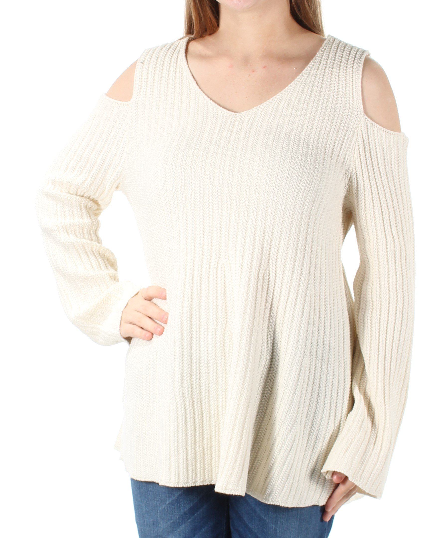 Style & Co. Womens Cold-Shoulder Bell Sleeves Sweater Ivory M