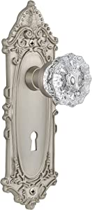 Nostalgic Warehouse Victorian Plate with Keyhole Crystal Glass Knob, Single Dummy, Satin Nickel