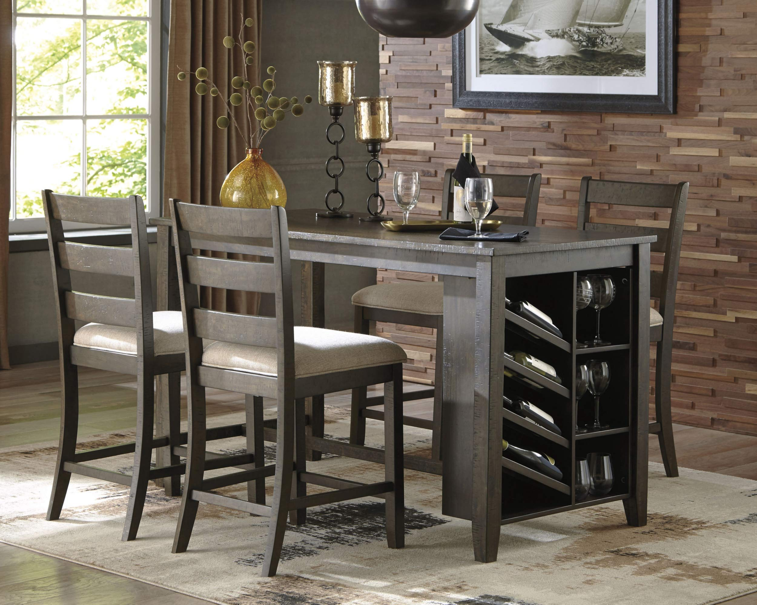Signature Design by Ashley D397-32 Rokane Counter Height Dining Room Table, Brown by Signature Design by Ashley (Image #2)