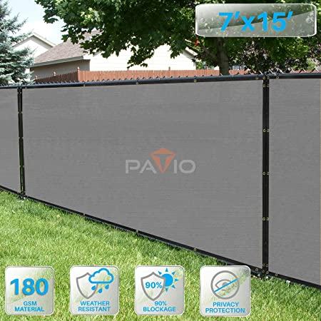 Light Gray 7FT  Fence Windscreen Privacy Screen Shade Cover Fabric Mesh Garden