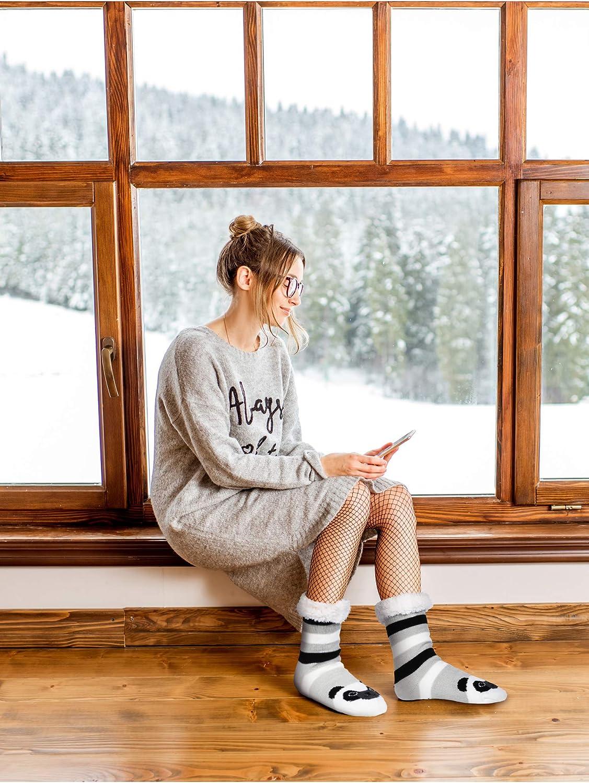 2 Pairs Winter Warm Slipper Socks Cute Animal Pattern Fuzzy Socks for Women Style Set 6