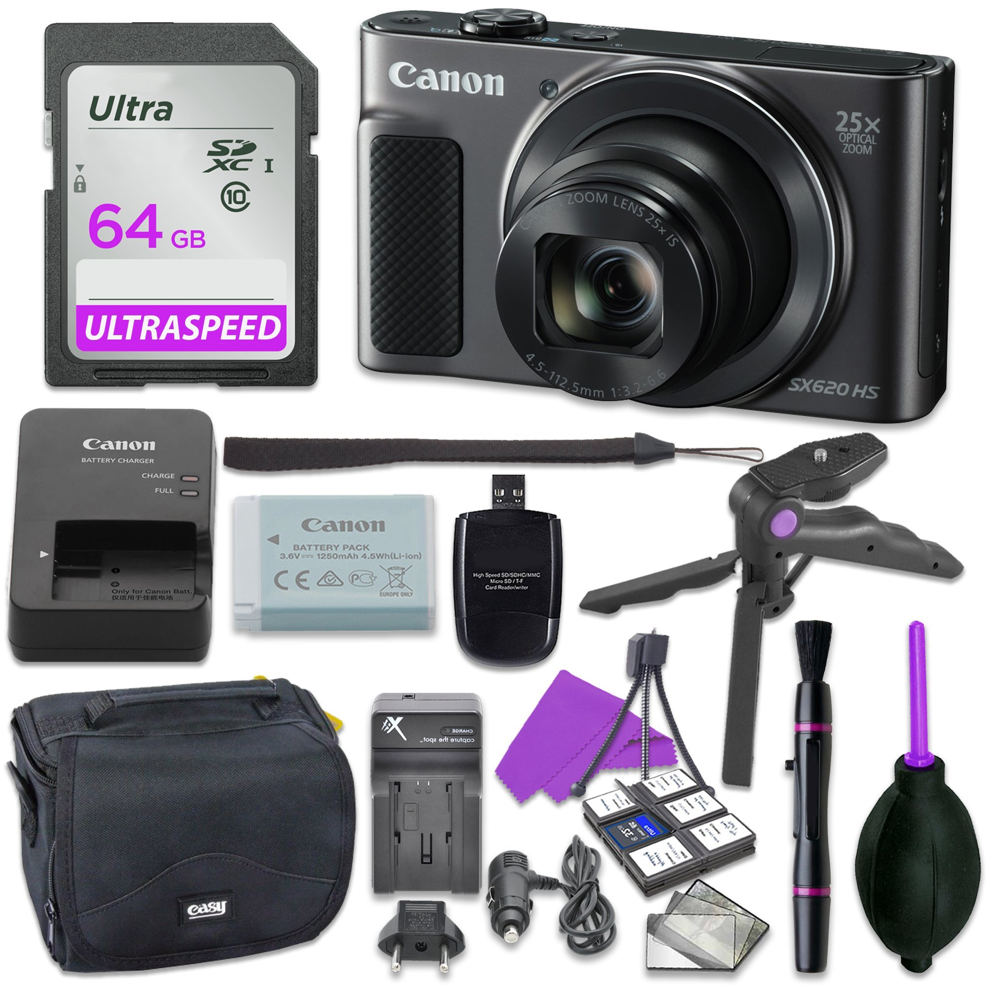 Canon Powershot SX620 Point & Shoot Digital Camera Bundle w/ Tripod Hand Grip , 64GB SD Memory , Case and More (Black) by Canon