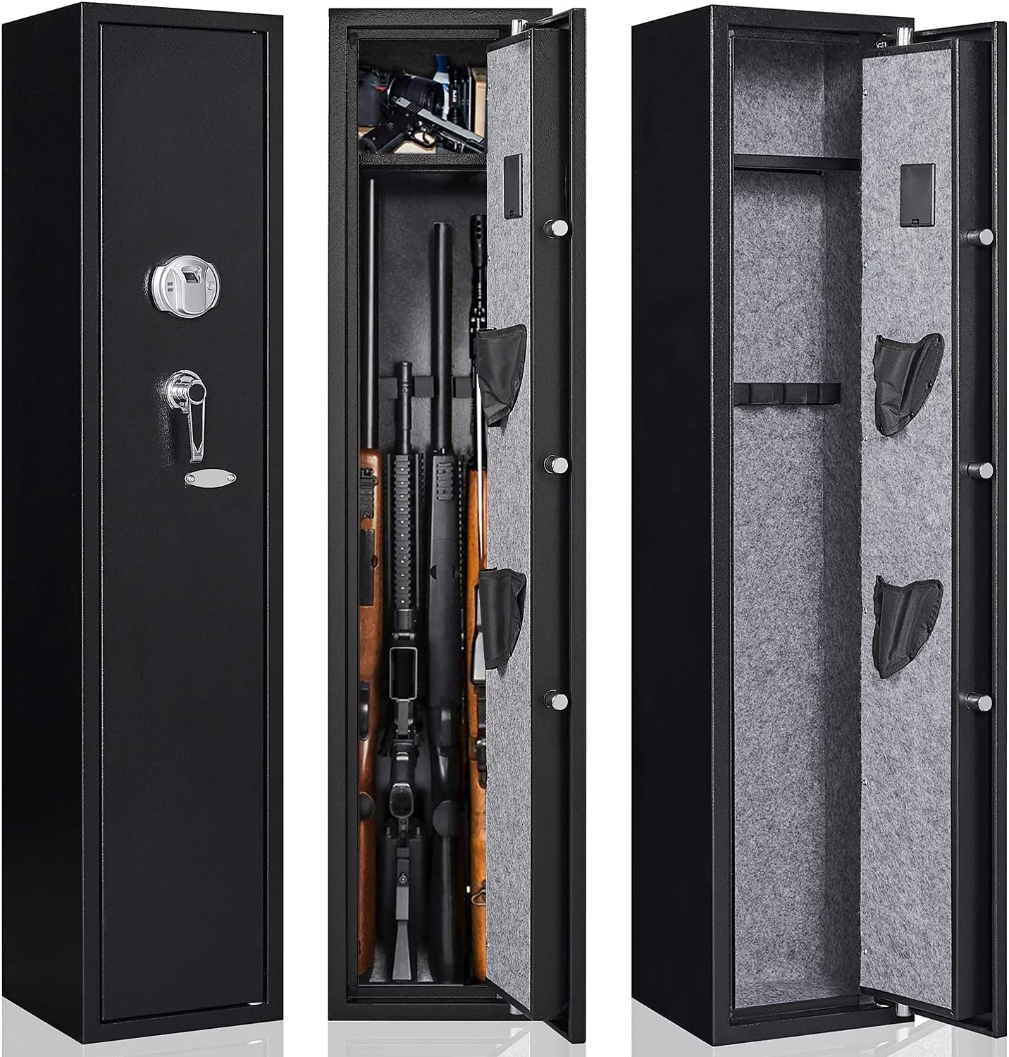 Gun Safe for Rifle and Pistols, Large Rifle Safe 5 Rifles Storage, Multiple Quick Access Biometric Fingerprint & Key, Shortgun Holder for Pistols, Removable Storage Shelf Ammo Lock Box