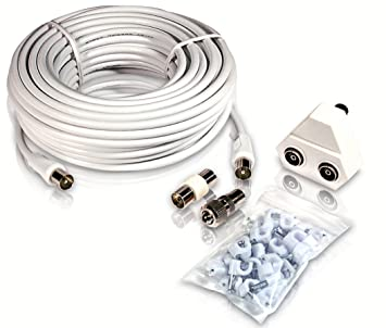 PHILIPS AUDIO Philips SWV2209W - Cable coaxial para Antena (15 metros), blanco