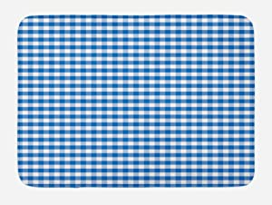 Ambesonne Checkered Bath Mat, Monochrome Gingham Checks Classical Country Culture Old Fashioned Grid Design, Plush Bathroom Decor Mat with Non Slip Backing, 29.5 W X 17.5 L Inches, Blue White