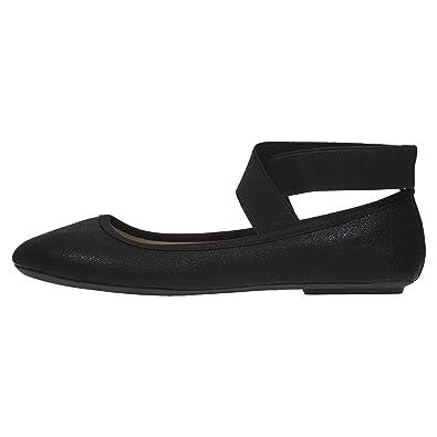 ce50d4d0ca377 Women's Ballet Flats Size 5-6 Metallic with Elastic Straps Slip-On Shoes  Black