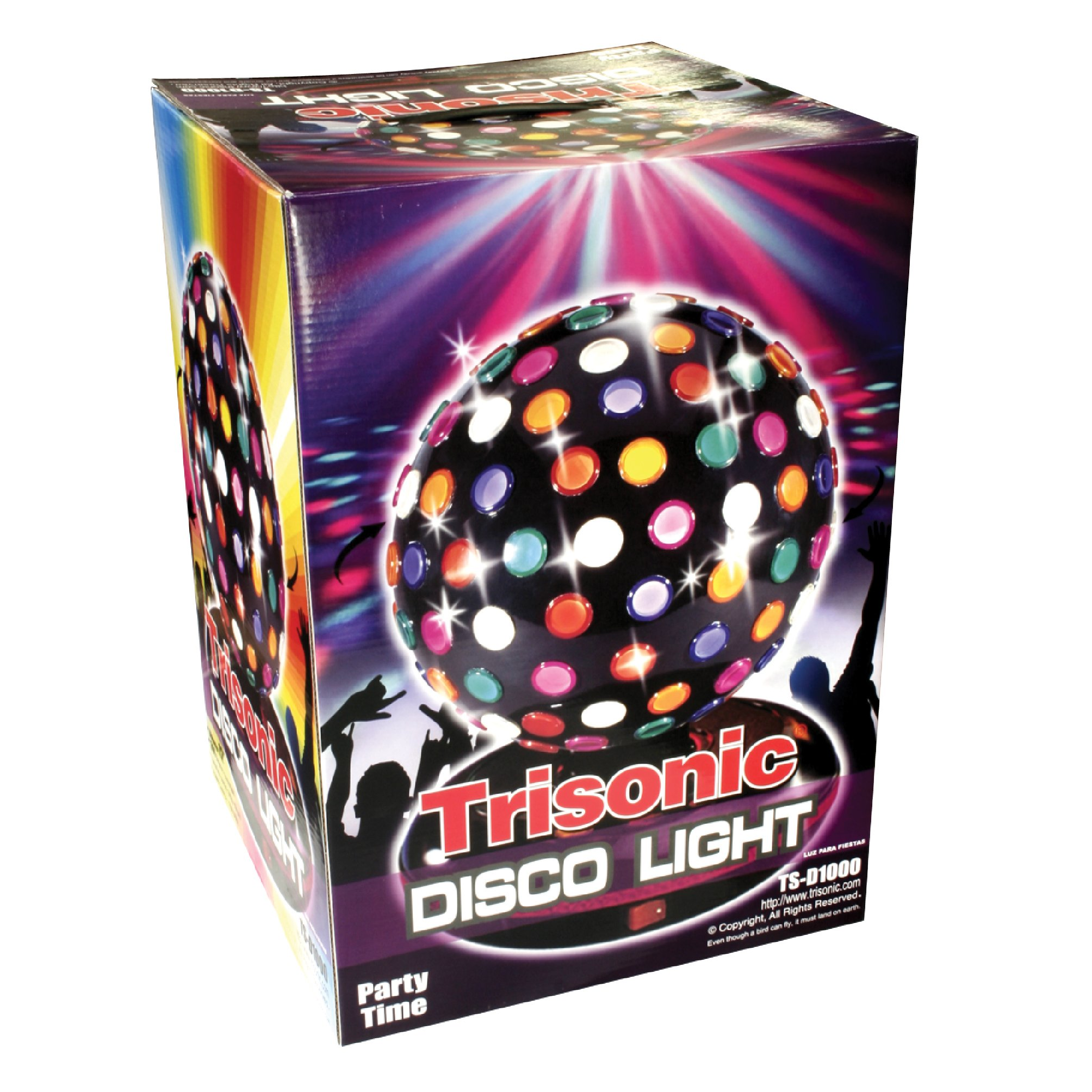 Trisonic Party Time Multi Color 360 Degree Rotating Mirror Disco Light 12''