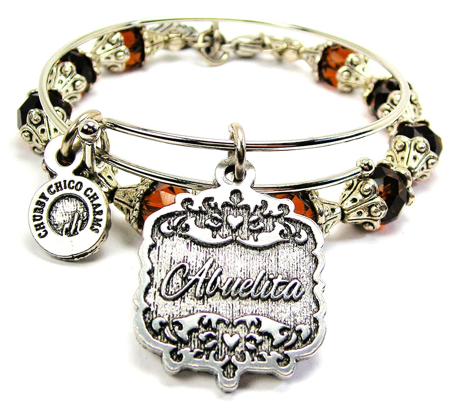 Chubby Chico Charms Abuelita Victorian Scroll Crystal Collection Bracelet Set in Chocolate Brown