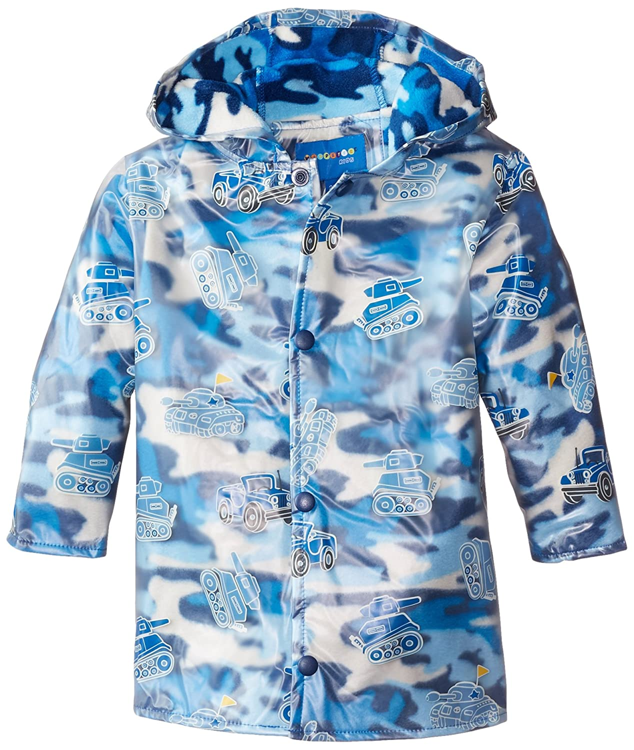Wippette Little Boys' Camo Army Vehicles Raincoat Blue 4T Wippette Boys 2-7 child code