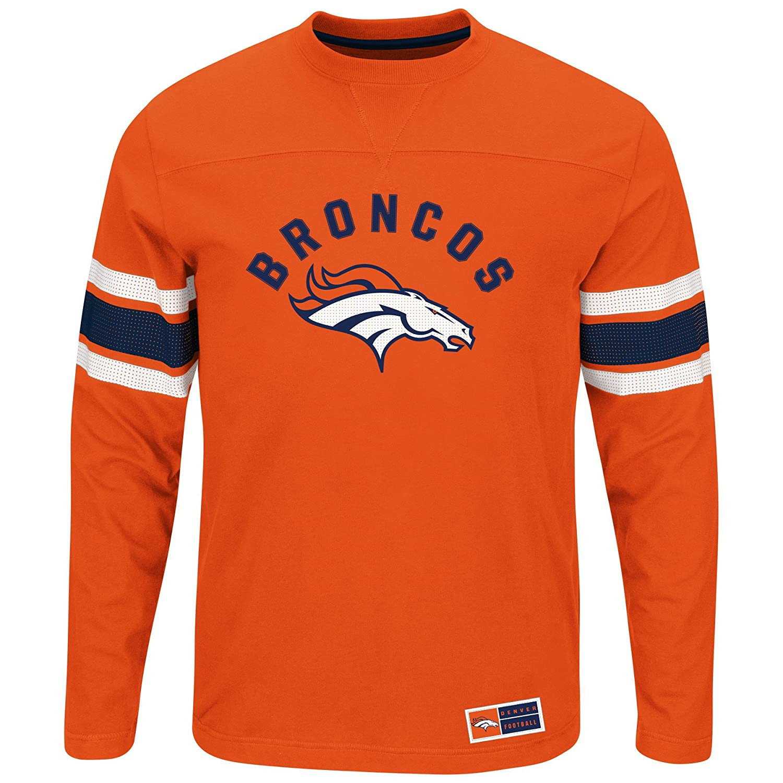 00f1029edcc Amazon.com : Majestic Athletic Denver Broncos Orange Long Sleeve Power Hit T -Shirt : Sports & Outdoors
