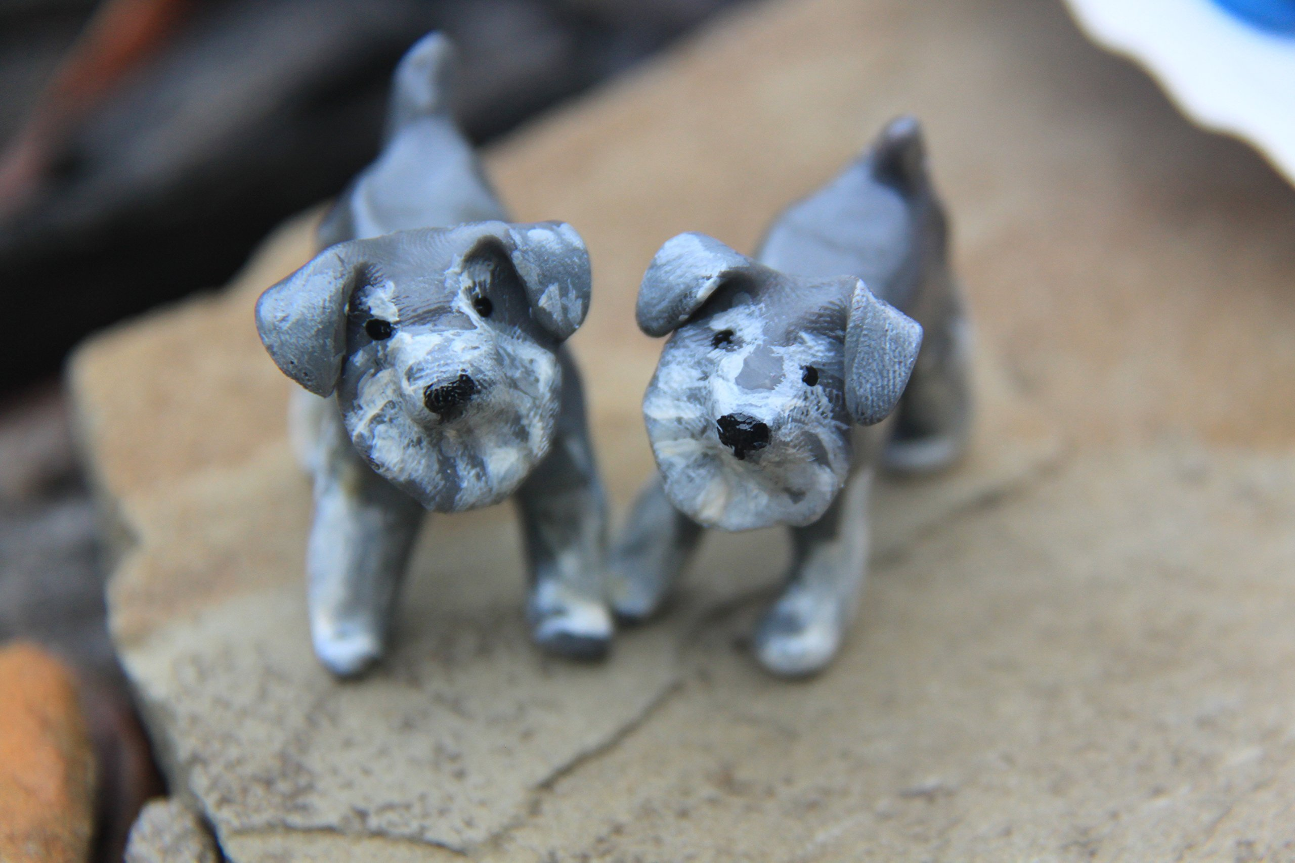 Schnauzer, Clay Dog, Polymer Clay Animal Totem for Bonsai or Succulent, Parliament and Peck
