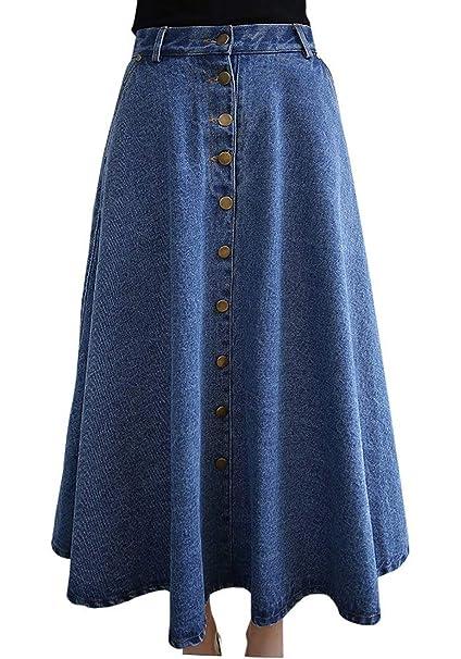 6932269c17 Women's Vintage Plus Size Long Skirts Pure Color Denim Jean Flared Midi  Skirt: Amazon.co.uk: Clothing