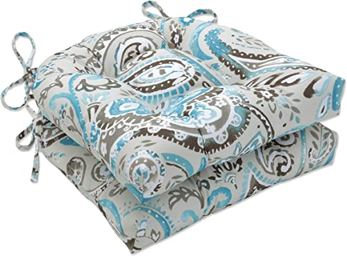 Pillow Perfect Outdoor Indoor Vermilya Tidepool Large Chairpad Set of 2 , 17.5 X 16.5 X 4, Blue