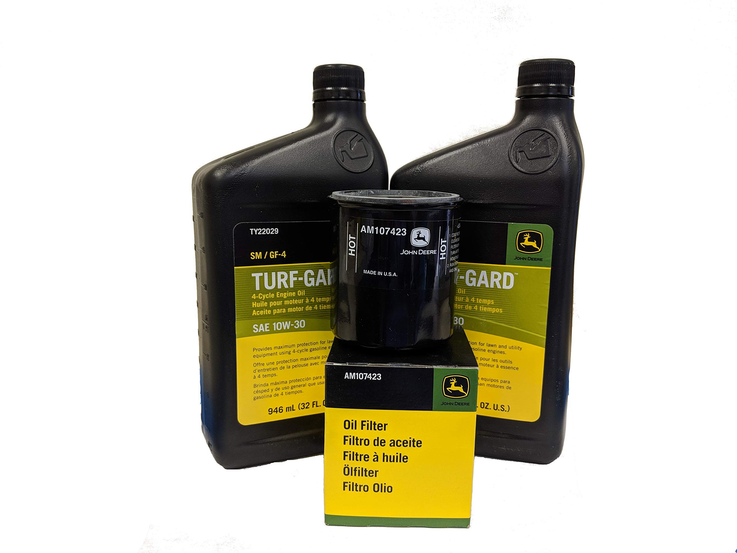 J0HN DEERE 2 Quarts Turf-Gard SAE 10W-30 Oil Plus AM107423 Filter. Fits Many Lawn Mowers - Check Description by John Deere