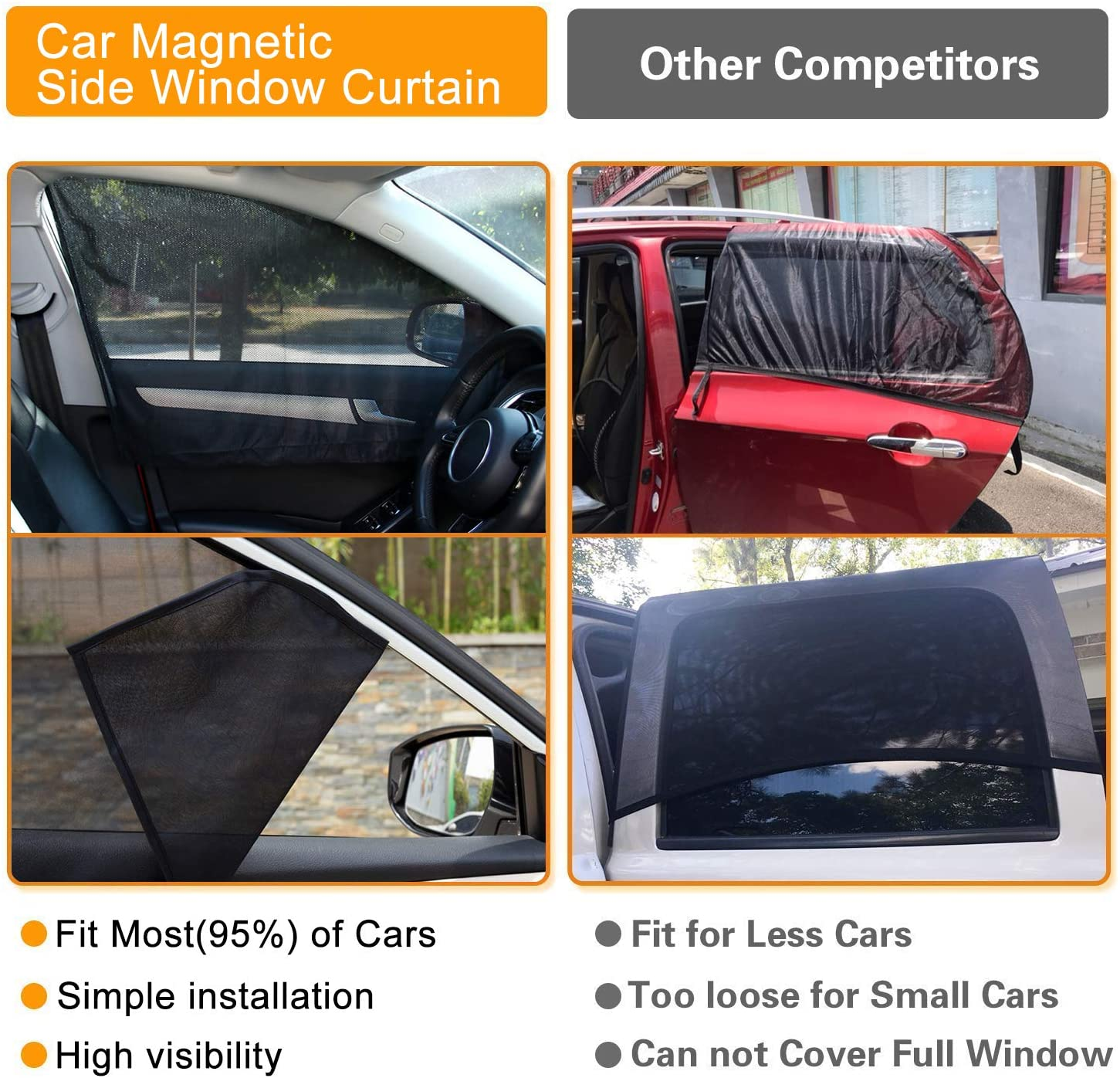 Heart Horse Car Window Shades Magnetic Side Window Summer Sun Curtain,Universal for Car Back and Front Visor Protector Sun Shade-Anti-UV Pack of 4