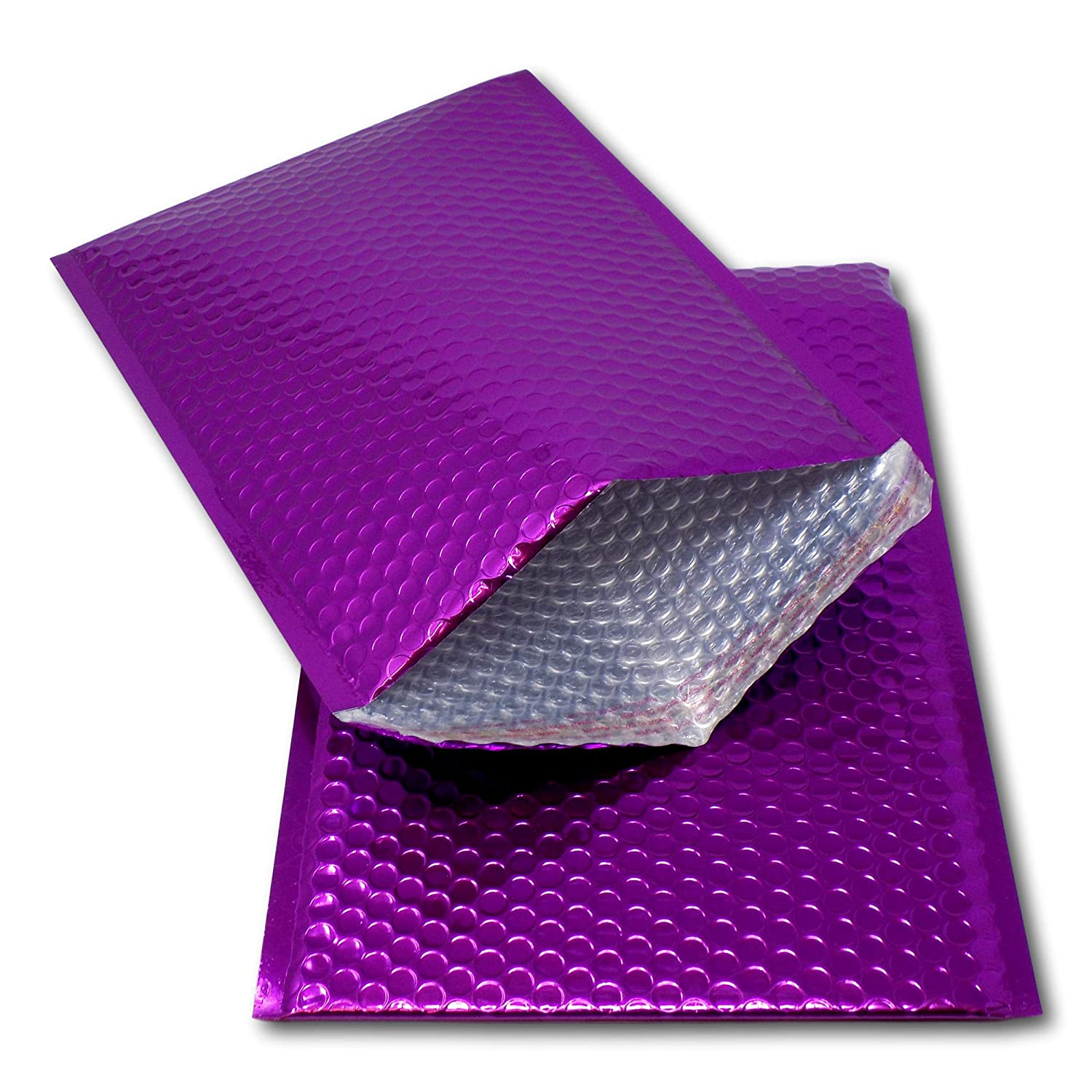 EPOSGEAR 25 Purple Shiny Metallic Foil Bubble Padded Bag Mailing Envelopes - Perfect for marketing, promotions or and alternative to gift wrap (A4 / C4-324mm x 230mm)