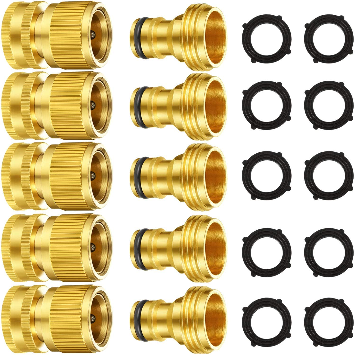 Garden Hose Quick Connect Fittings Solid Brass Quick Connector 3/4 Inch GHT Garden Water Hose Connectors with Extra Rubber Washers, Male and Female (5 Set)