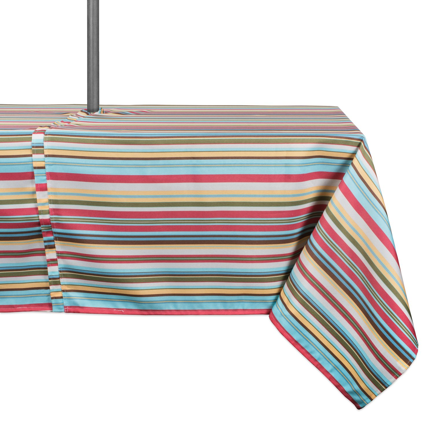 DII Spring & Summer Outdoor Tablecloth, Spill Proof and Waterproof with Zipper and Umbrella Hole, Host Backyard Parties, BBQs, & Family Gatherings - (60x84'' - Seats 6 to 8) Warm Summer Stripe