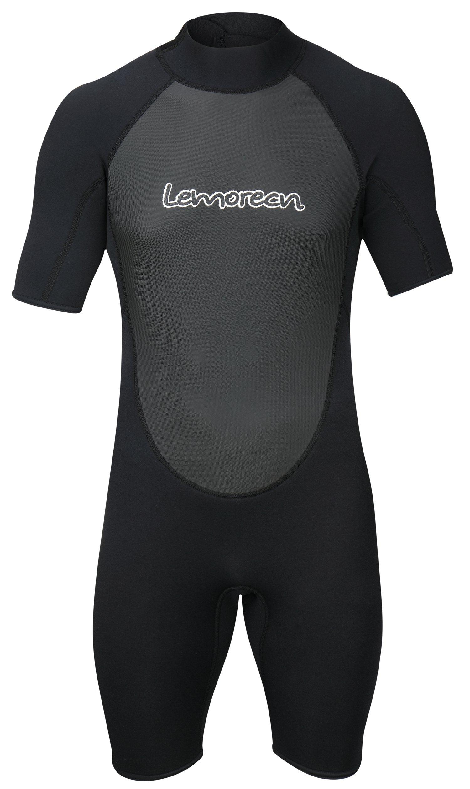 Lemorecn Wetsuits Mens Neoprene 3mm Shorty Diving Suit(3036black-3XL) by Lemorecn (Image #2)