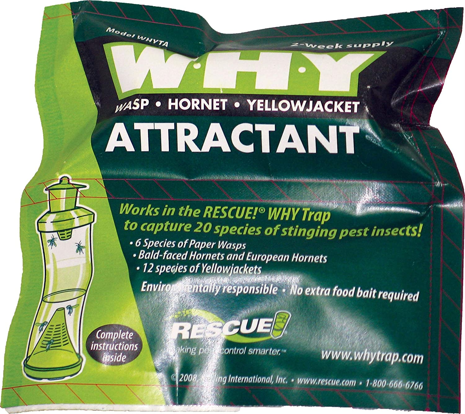 STERLING INTRNTL RESCUE W-H-Y TRAP WASP HORNET & YELLOWJACKET ATTRACTANT 2 WEEK SUPPLY STERLING INTERNATIONAL BCI077915