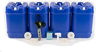 product image for Emergency Water Storage 5 Gallon Water Tank - 20 Gallons (4 Tanks) - 5 Gallons Each w/Lids + Spigot & Water Treatment - Food Grade, Portable, Stackable, Easy Fill - Survival Supply Water Container