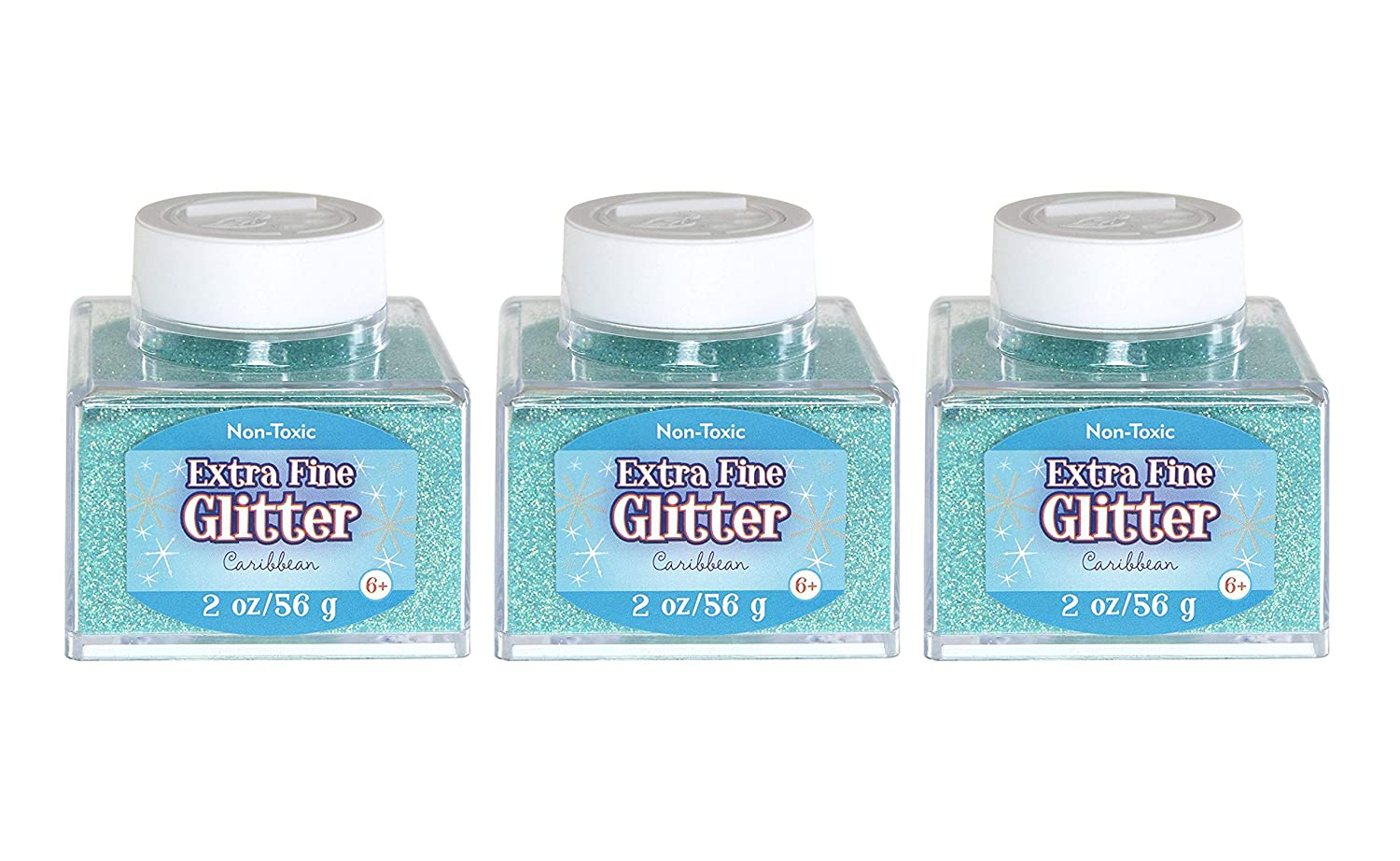 Sulyn Extra Fine Caribbean Glitter Stacker Jar, 2 ounces, Non-Toxic, Stackable and Reusable Jar, Blue Green Glitter, SUL51827