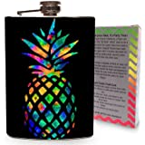 Rainbow Pineapple Stainless Steel 8oz Hip Flask Whiskey Vodka Tequila Drinking Flasks Game Games Drinking - Gift Box