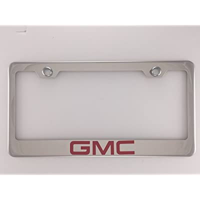 GMC Chrome License Plate Frame with Caps: Automotive