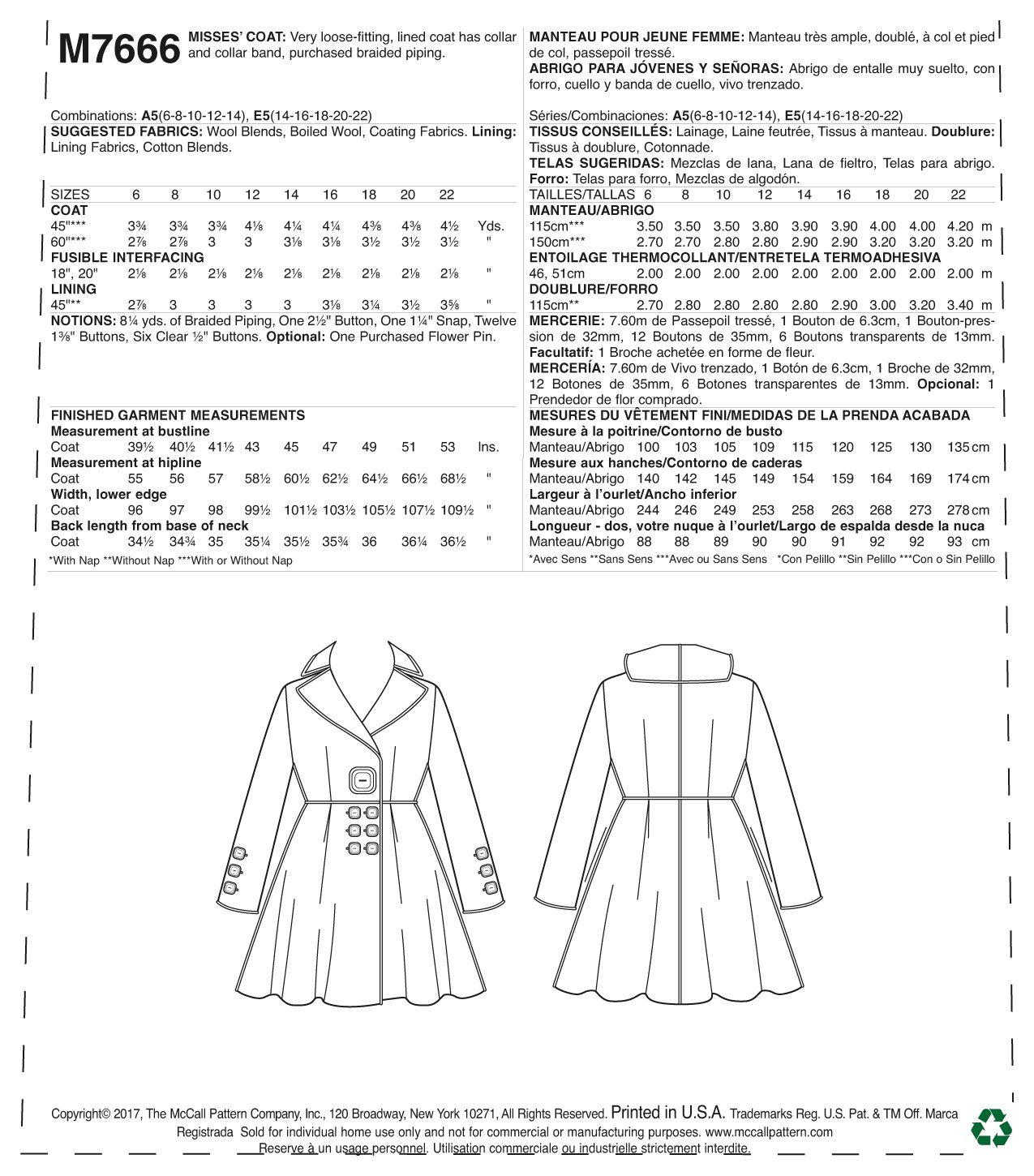 Amazon.com: McCalls Patterns M7666E50 Misses Lined Flared Wide Collar Coat