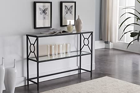 Kings Brand Furniture – Loyd Texture Black Metal Entryway Console Sofa Table with Glass Shelf