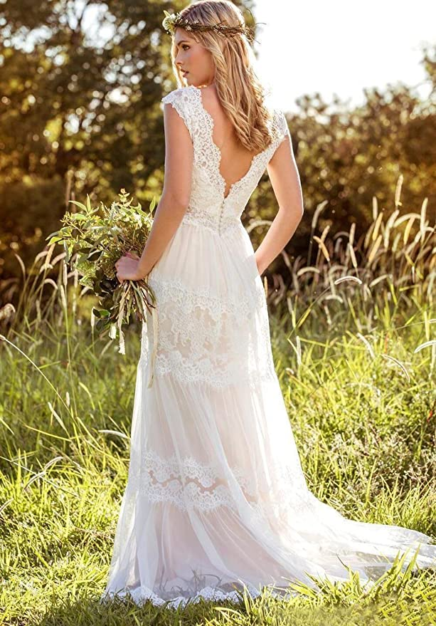 Sexy Double V Neck Boho Wedding Dresses for Bride 2017 Lace Bridal Gowns at Amazon Womens Clothing store: