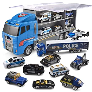 JOYIN 10 in 1 Die-cast Police Patrol Rescue Truck Mini Police Vehicles Truck Toy Set in Carrier Truck