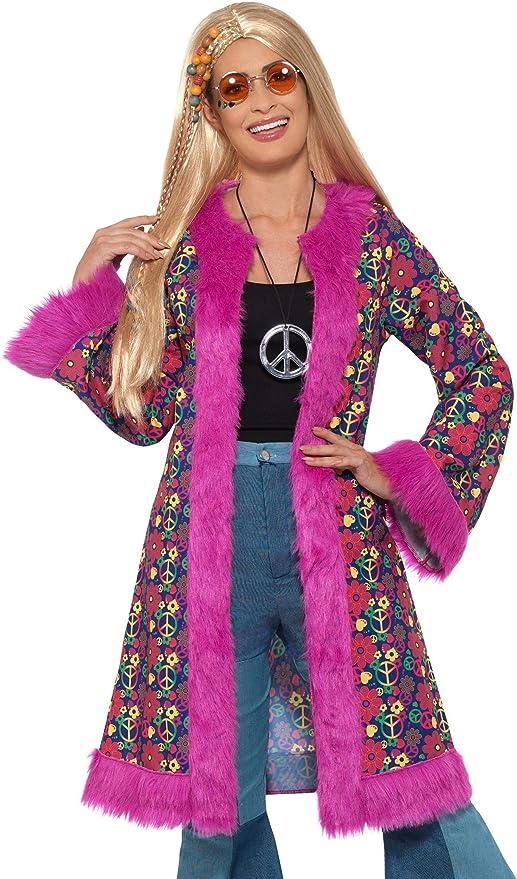 70s Costumes: Disco Costumes, Hippie Outfits Hippie Coat Adult Costume Black Print/Pink Trim - Small/Medium $28.18 AT vintagedancer.com
