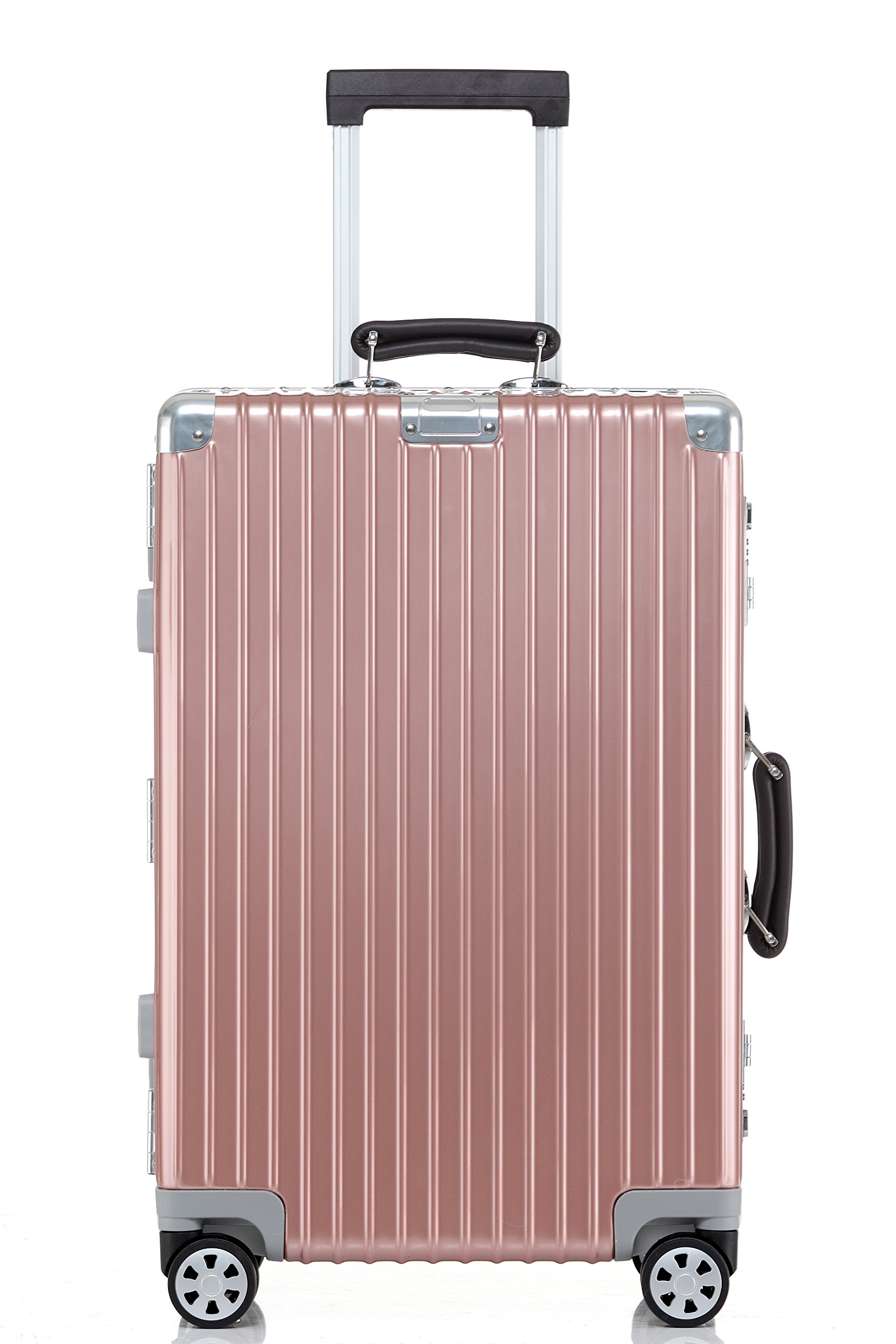 Checked Luggage, Clothink Aluminum Frame Hardside Suitcase Modern Travel Spinner 28 Inch, Rose Gold